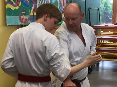 Students working on kumite.