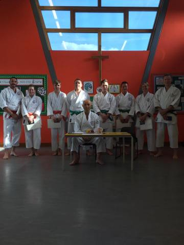 Successful Shikukai Chelmsford students at a grading in Woodham Walter with Sugasawa Sensei.