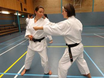 Natalie Hodgson (L) training with Dutch students in Holland.
