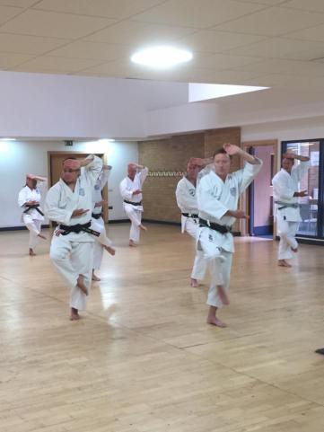 Tim Shaw teaching under Sugasawa Sensei's direction teaching on the Shikukai instructors course.