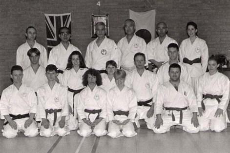 Members of Shikukai Chelmsford with the late Grandmaster Ohtsuka Hironori II 1998.
