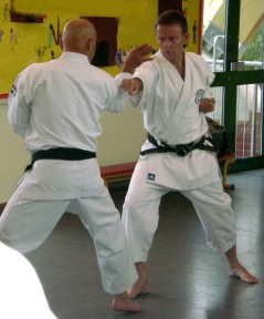 2008 - Sugasawa Sensei demonstrates the application of Kakete on Tim Shaw.