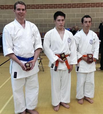 2014 - Andrew Stokes of Shikukai Chelmsford (centre) second place junior kata event at the Shikukai National Championships.