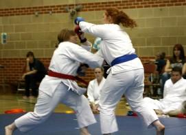 2009 Shikukai Championships Swindon. Junior ladies kumite; Sandra Revill L, scores on Stacy Revill.