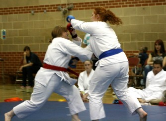 2009 Shikukai Championships Swindon. Junior ladies kumite; Sandra Revill L, scores on Stacy Revill.