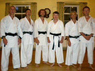 2009 - North Yorkshire reunion. Shikukai Chelmsford instructor Tim Shaw, far right. L to R. Mark Gallagher, Keith Walker, Jason Gallagher, Stuart Ogden and Mark Harland.
