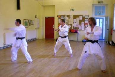 2009 - North Yorkshire reunion. Naihanchi practice, Keith Walker, Tim Shaw, Jason Gallagher.