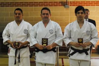 2013 - Steve Thain (centre) winner of the senior kata event 2013 Shikukai National Championships.