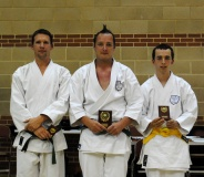 2013 - Craig Walton (centre) winner of the junior grade kata event 2013 Shikukai National Championships.