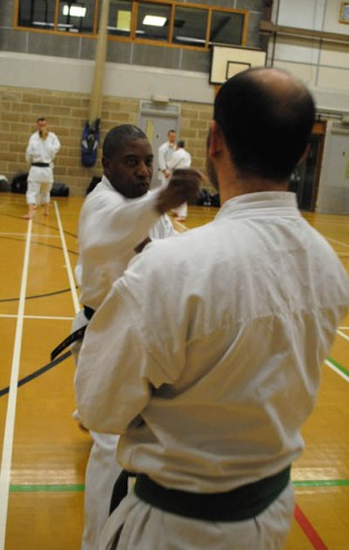 2011 - Colchester. Keith Henry of Leeds Wado Kai attacks Roberto Cuiffa of Shikukai Hertford.