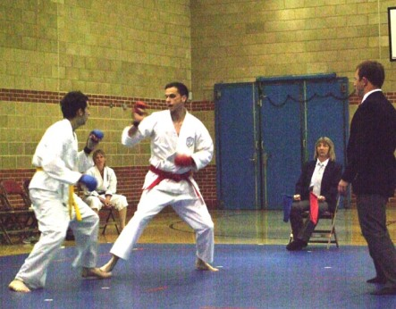 2011 Shikukai Championships, Swindon. Charles Jarrold in the final of the men's junior kumite.