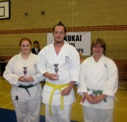 2011 Shikukai Championships, Swindon. L, Stacey Revill 2nd, centre Craig Walton 1st, R Sandra Revill 3rd. Mixed junior kata.