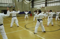 2012 - . Colchester, Shikukai Chelmsford instructor Tim Shaw leads the Dan grades through Seishan kata.