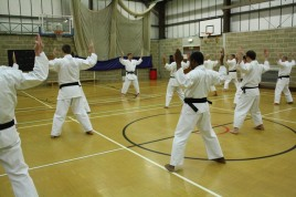 2012 - . Colchester, Shikukai Chelmsford instructor Tim Shaw leads the Dan grades through Seishan kata.