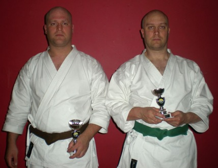 2008 - Shikukai National Championships, Tom Ebel (L) runner up men's senior kumite. John Ebel (R) 3rd place men's junior grade kumite.