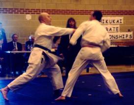 2008 - Shikukai National Championships, John Ebel (L) scores on his opponent with gyakuzuki.
