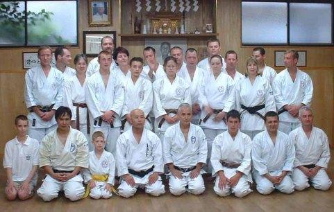 Shikukai Chelmsford members among students training at Honbu Dojo Tokyo 2004.