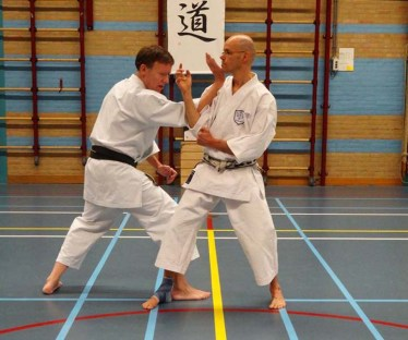 2014 - Shikukai Chelmsford instructor Tim Shaw teaching in Holland, demonstrating with Martijn Schelen.