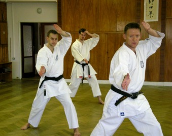 2008 - Shikukai Chelmsford instructor Tim Shaw (R) teaching at the November course in Prague, Czech Republic. (L) David Vlk, instructor Shikukai Praha.
