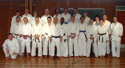 2001 Shikukai Chelmsford members with Sugasawa Sensei at a course in Settle N. Yorks.