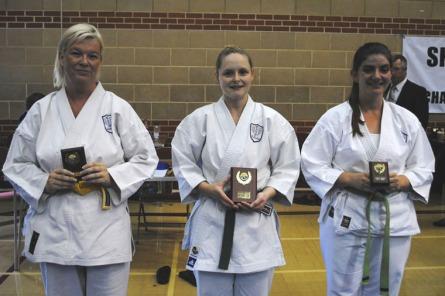 2012 - Shikukai Championships Ladies kumite, L to R, Geraldine Deasley 2nd Chelmsford, Teresa Allen 1st Chelmsford, Emma Hawkins 3rd Olympiad Chippenham.