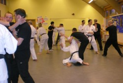 2008 - Joint seminar between Shikukai Chelmsford students and the UK Wing Chun Association. Group practice, control & counter into throw.