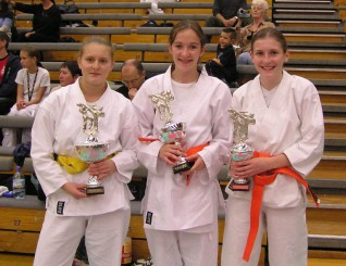2005 Wado Academy National Championships. Female Junior competition winners from Shikukai Chelmsford.