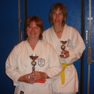 2008 - Chelmsford succes at Shikukai Championships. Sandra Revill (L) Junior kata champion. Frances Henry (R) 3rd in junior kata and Ladies Kumite Champion.
