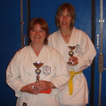 2008 - Chelmsford succes at Shikukai Championships. Sandra Revill (L) Junior kata champion. Frances Henry (R) 3rd in junior kata and Ladies Kumite Champion.