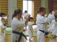 2004 - George Krethlow Shaw (far left) of Shikukai Chelmsford training in Hiroshima.