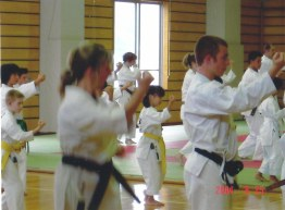 2004 - George Krethlow Shaw (far left) of Shikukai Chelmsford training in Hiroshima.
