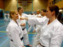 Sue Dodd (L) from Chelmsford practicing blocking.