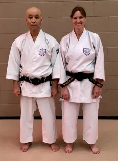 Sugasawa Sensei & new Shodan Sue Dodd.