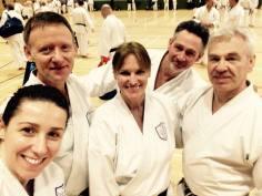 Natalie Hodgson, Tim Shaw, Sue Dodd, Keith Walker and Mark Harland at grandmaster Otsuka Hironori III winter course, Guildford.