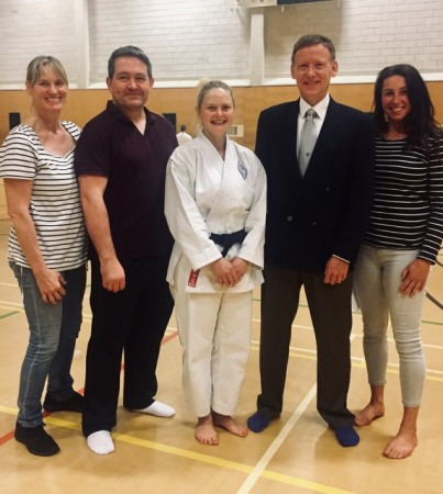 Teresa Claxton with Shikukai Chelmsford just after passing her Shodan.