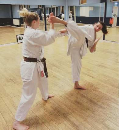 Natalie Hodgson 2nd Dan, kick training.