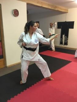 Natalie Hodgson working kata on French course.