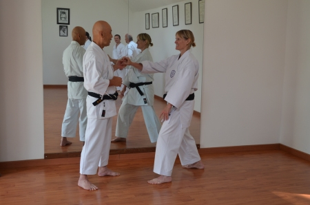 Sue Dodd from Shikukai Chelmsford with Sugasawa Sensei at the French instructors course.
