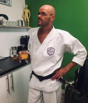 Holland instructor Martijn Schelen strikes a regal pose on his home Dojo.