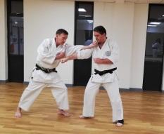 Practicing 'Noru', 'Riding on', Chelmsford Dojo. Tim Shaw & Steve Thain.